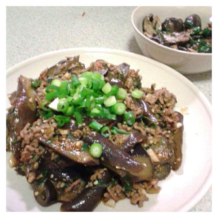Stir fry eggplant with mince