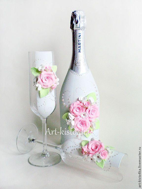 """Купить комплект """"Розовые розы"""" - белый, свадебные аксессуары, бокалы для свадьбы, шампанское на свадьбу, свадьба"""