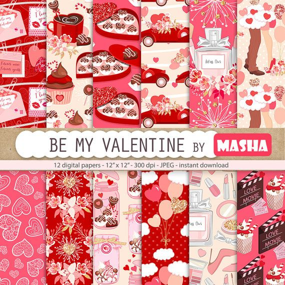 VALENTINE'S DAY digital papers: Be my Valentine by MashaStudio #valentines #day #digital #paper #romantic #papers #background #love #images #chocolate #box #heart #balloons #candy #jar #red #pink #glitter #patterns #movie #night #illustration #car #png #cupcake