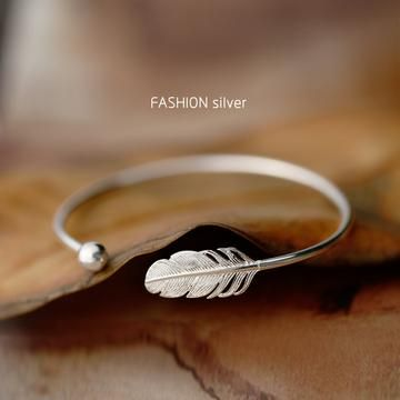 Silver Plated Feather Bracelets & Bangles New Fashion Bracelet for Women Jewelry