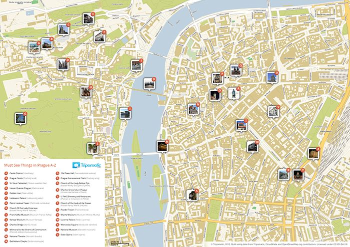 Download a printable Prague tourist map showing the best attractions.