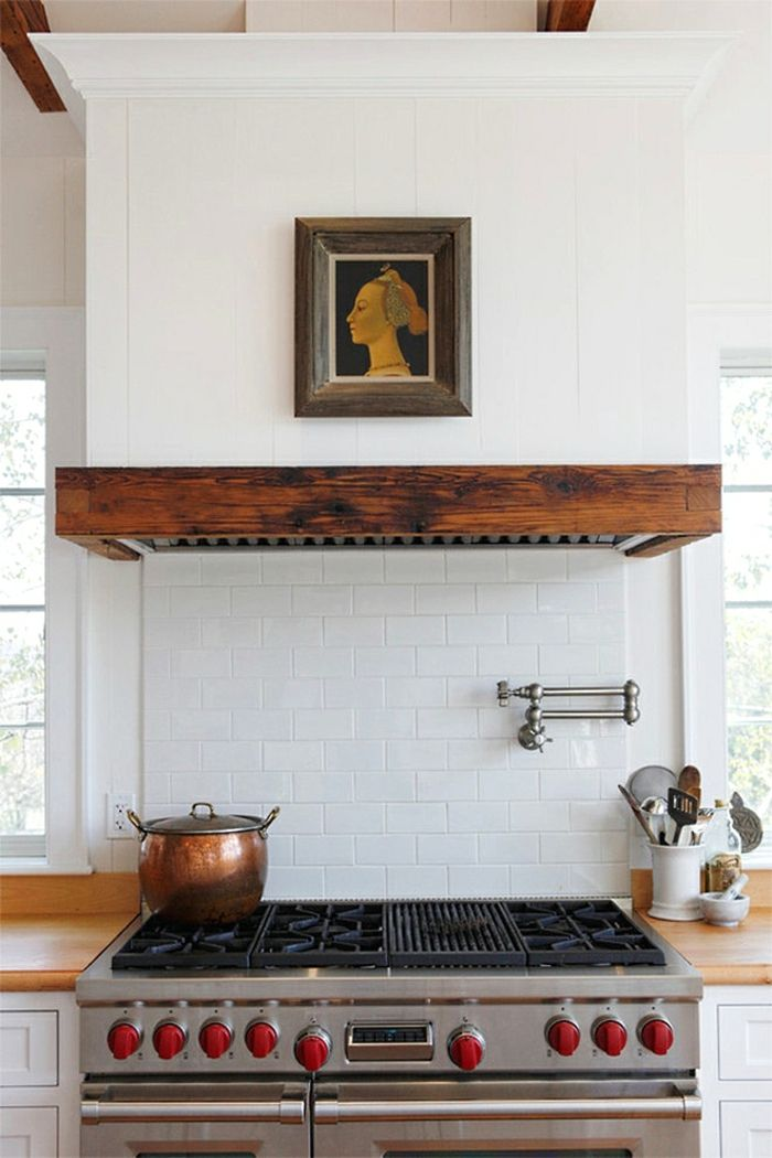 Covered Range Hood - White and Reclaimed Wood - by Sullivan Building and Design…