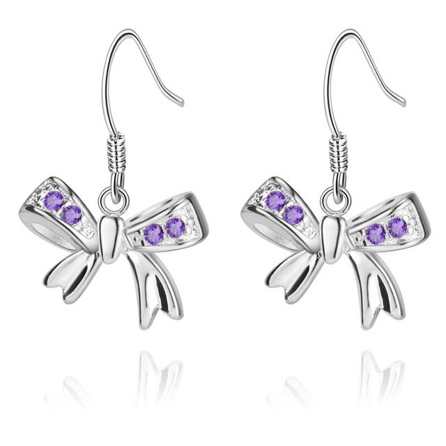 Циркон инкрустированные фиолетовый с бантом высокое качество серебряные серьги для женщин мода ювелирных изделий серьги / RLQMGQVT KUDZEVUA