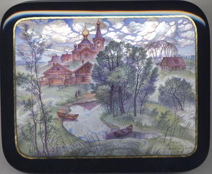 Kozlov Sergey, Fedoskino lacquer box, Village of Fedoskino