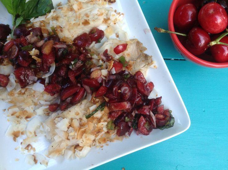 Paleo Coconut Tilapia with Cherry Salsa
