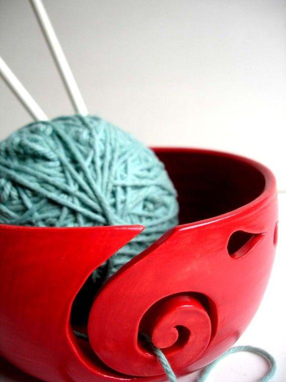 Red Ceramic Thrown Yarn Bowl
