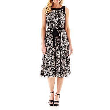 jcp | Perceptions Sleeveless Floral Print Dress - Petite