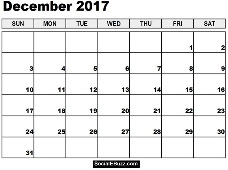 13 Best December 2017 Calendar Images On Pinterest Printable