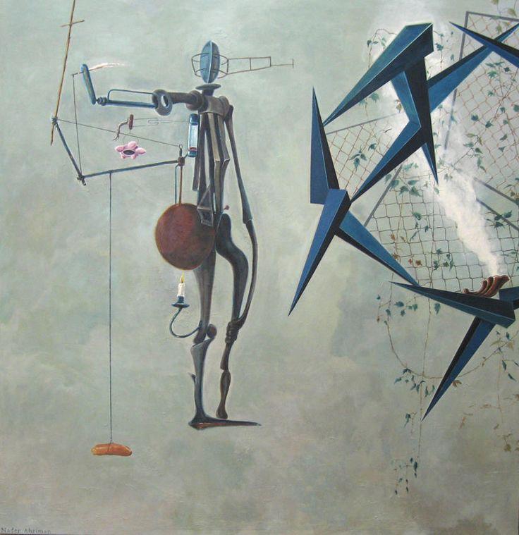 Nader ahriman  Begegnung zwischen dem Schäfer und Gestalt des Bewußtseins   2003  acrylic on canvas  94.49 x 92.13 inches/240 x 234 cm