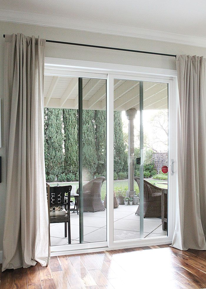 Patio door -Galvanized pipe curtain rods without the industrial feel