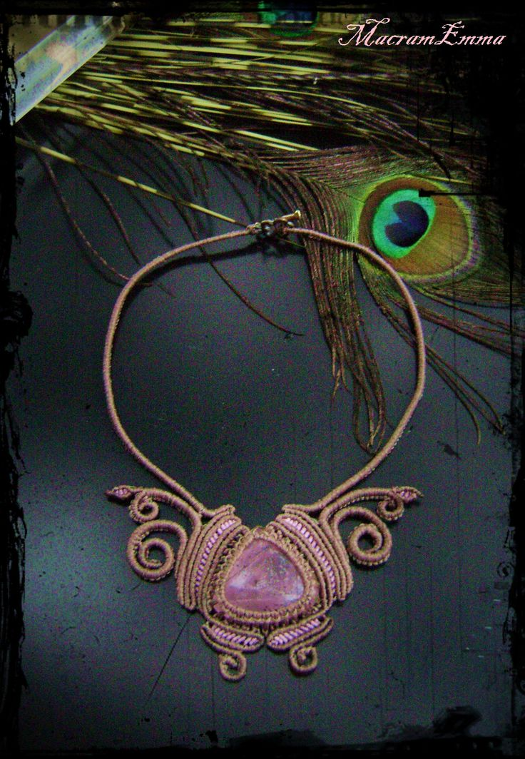 """..Macrame Butterfly Necklace with Rose Quartz..this Stone is often called the """"Love Stone."""".. It's energetic hallmark is that of unconditional love that opens the heart chakra..As a variety of quartz, rose quartz has high energy, and this strong energy can enhance love in virtually any situation..by MacramEmma.."""