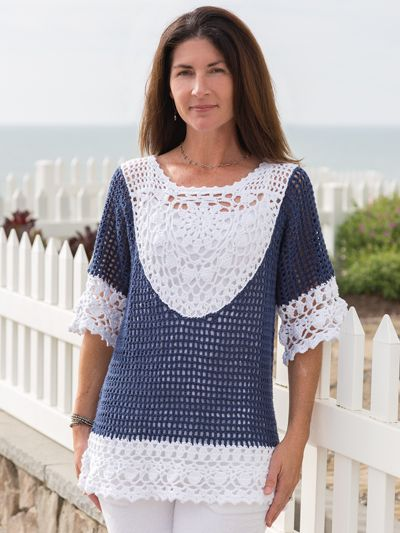 Popular new Seacliff Tunic Crochet Pattern from Annie's Signature Designs Spring Breeze Collection. Tap to see the entire collection and to order.