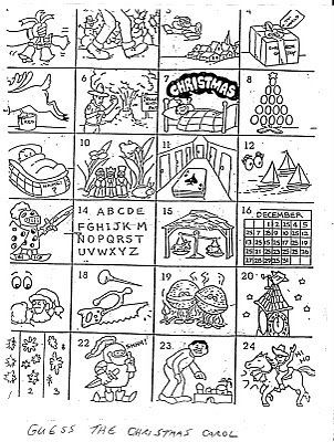 If you couldn't figure out the answers to the Christmas carol game , here they are. I hope you had fun with this. I know my family loves it when we pull it out each year. Merry Christmas! 1. Jingle...
