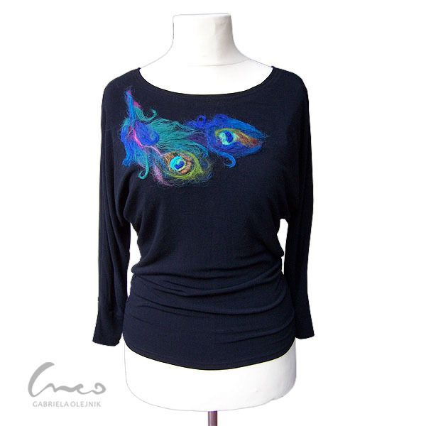 Bluzka kimonowa - pawie pióra XL XXL w creo-felt na DaWanda.com