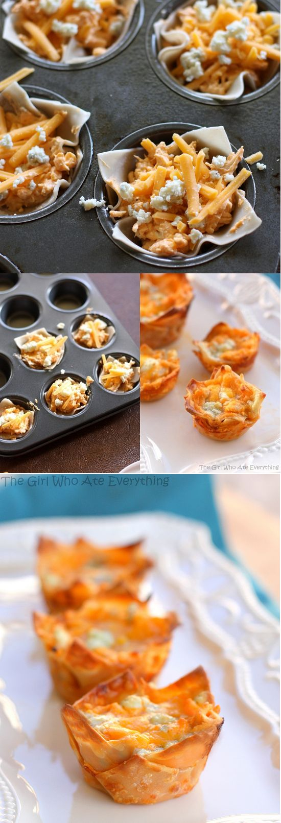 Made them- loved them!  Mini Buffalo chicken cupcakes recipes by The Girl who…