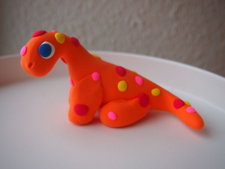 OOAK Orange Apatosaurus Soft Clay Figurine Cute Simple one of a kind Colorful Dotted by Anorichan on Etsy
