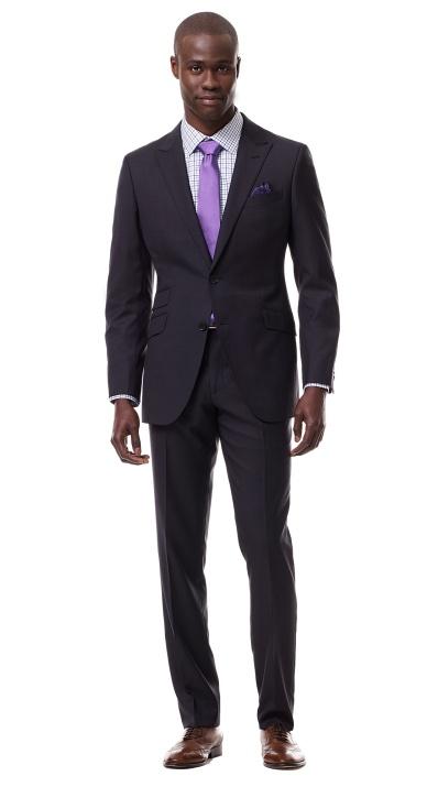 Charcoal Fuschia Pinstripe Suit Professional Men