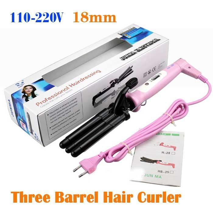 Aliexpress.com: Comprar 110 220 V Color de rosa tres barril de iones ondulado Hair Curling Iron varita del rodillo del bigudí de varita conjunto fiable proveedores en alan yuan's store