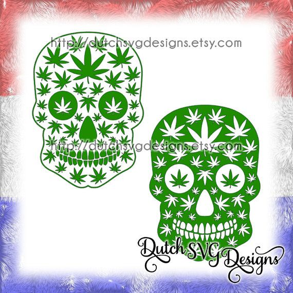 2 Skull cutting files with weed leaves, in Jpg Png SVG EPS DXF for Cricut & Silhouette, marijuana cannabis pot hemp hash joint peace reggae