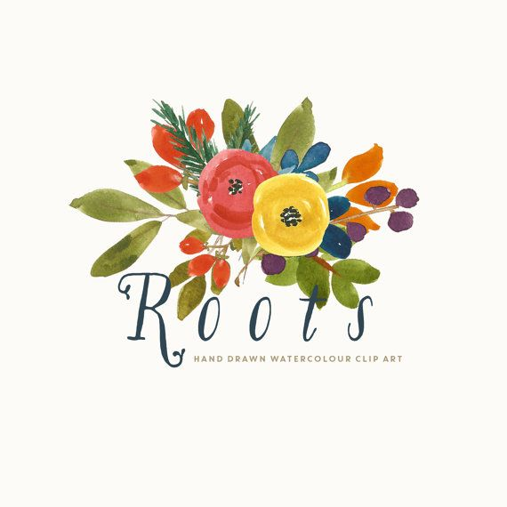 Flower Clipart Watercolour Hand Painted  Roots by CreateTheCut