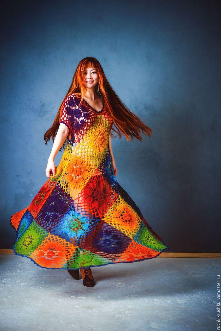 """Купить Платье """"Принцесса Радуга"""" крючком  из шерсти - цветочный, радуга, радужный, платье, вязаное платье"""