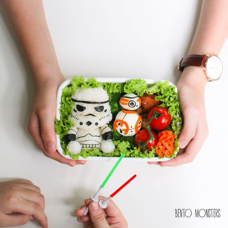 """A little late but finally made BB-8 with a Stormtrooper. My boy took out the lightsaber picks I put in the bento because he says Stormtroopers don't use…"""
