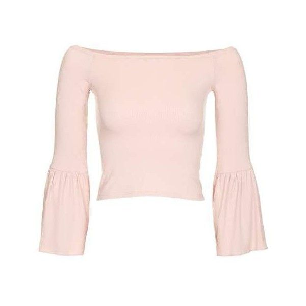 Topshop Trumpet Sleeve Bardot Top ($15) via Polyvore featuring tops, topshop, sleeve top, viscose tops, rayon tops, topshop tops and pink top