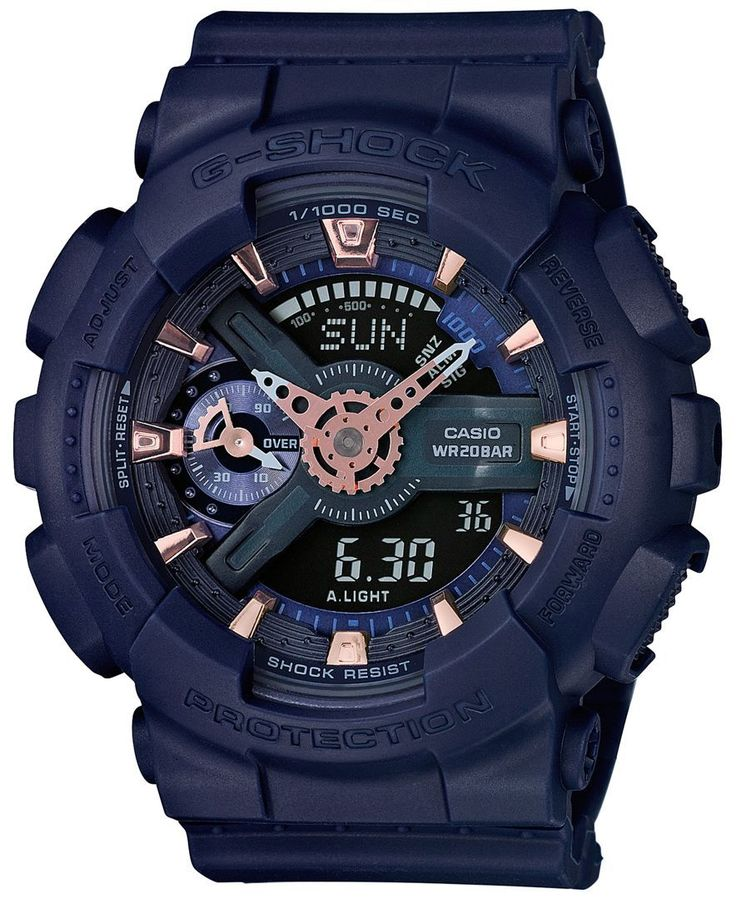 G-Shock Women's Analog-Digital S Series Navy Strap Watch 49x46mm GMAS110CM-2A