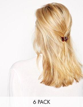 ASOS - Confezione da 6 mollettoni per capelli di media grandezza