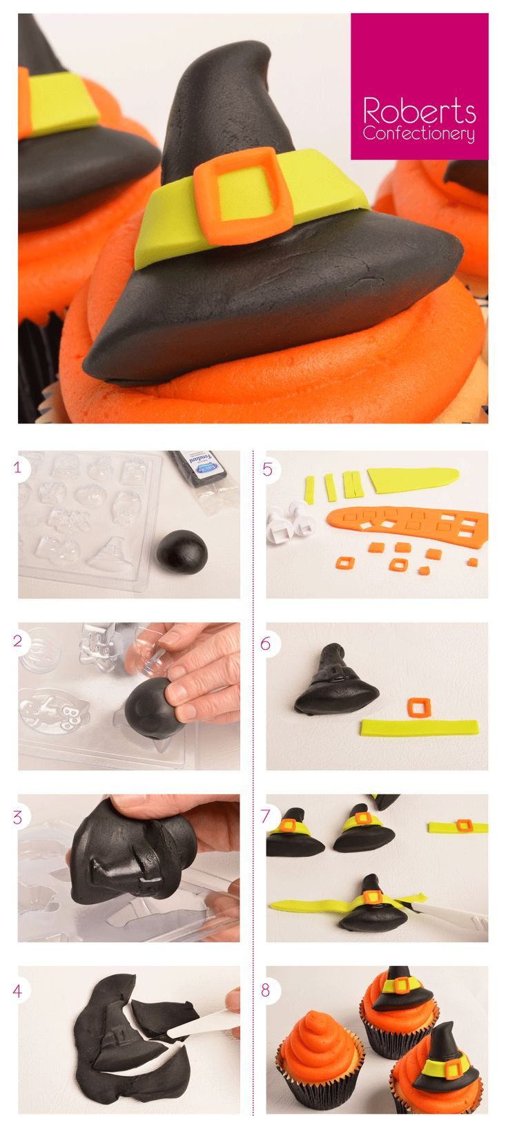 Witches Hat Topper - using Roberts Confectionery Halloween Mould