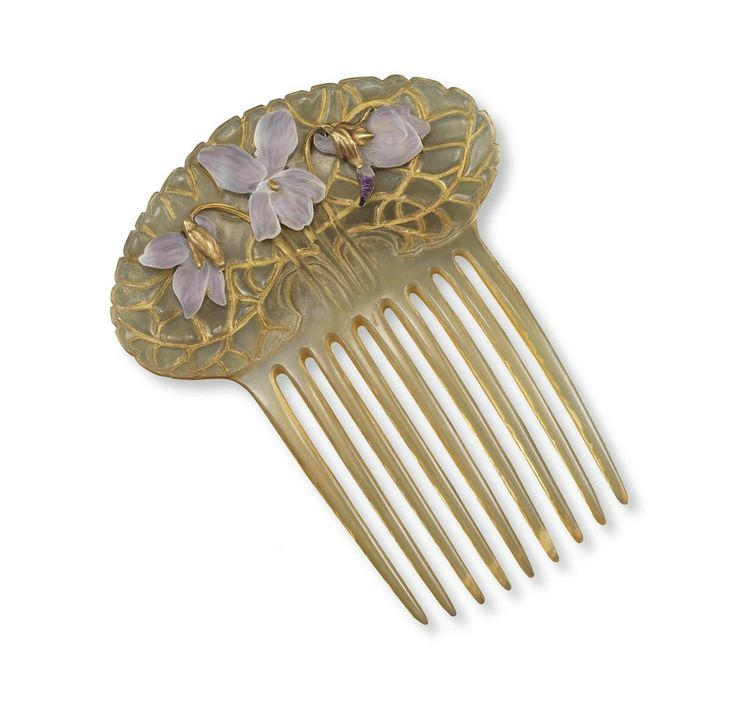 "Réne Lalique | foil backed frosted glass ""#Violets ""  comb"