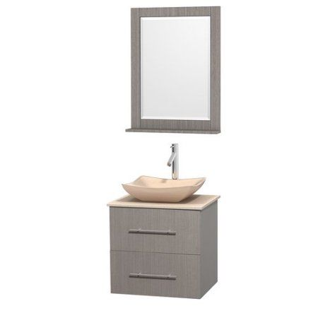 Wyndham Collection Centra 24 inch Single Bathroom Vanity in Gray Oak, Ivory Marble Countertop, Avalon Ivory Marble Sink, and 24 inch Mirror, Beige
