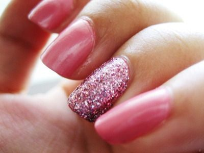 Glittered nails! I'm obsessed....Pink Sparkle, Accent Nails, Rings Fingers, Pink Nails, Sparkle Nails, Glitter Nails, Nails Polish, Pink Glitter, Sparkly Nails