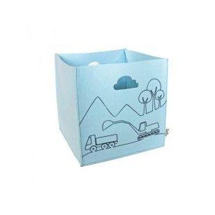 Sne design kurv filt blå med gravmaskin