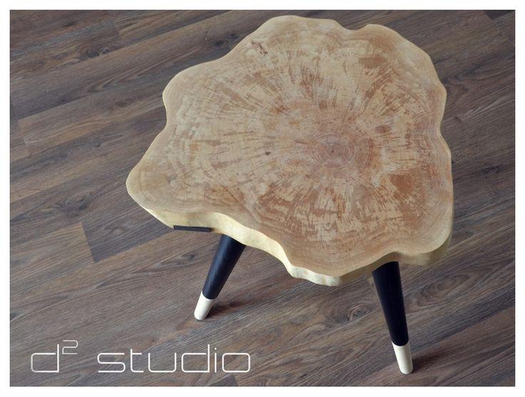 STILL WOOD Stołek / Stolik Trójnóg na zwężanych nóżkach -Black-  www.d2-studio.pl  https://www.facebook.com/d2studioprojektowe