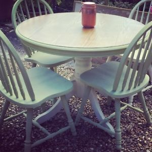 sage green cream farmhouse shabby chic solid pine table and chairs chalk painted