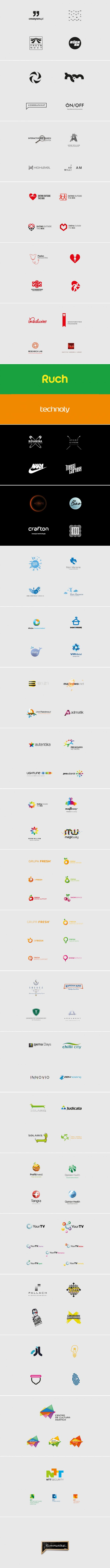 Logotheka contain concepts from 2006-2011. Selected logos designed by Kuba Enzowski.  Kommunikat