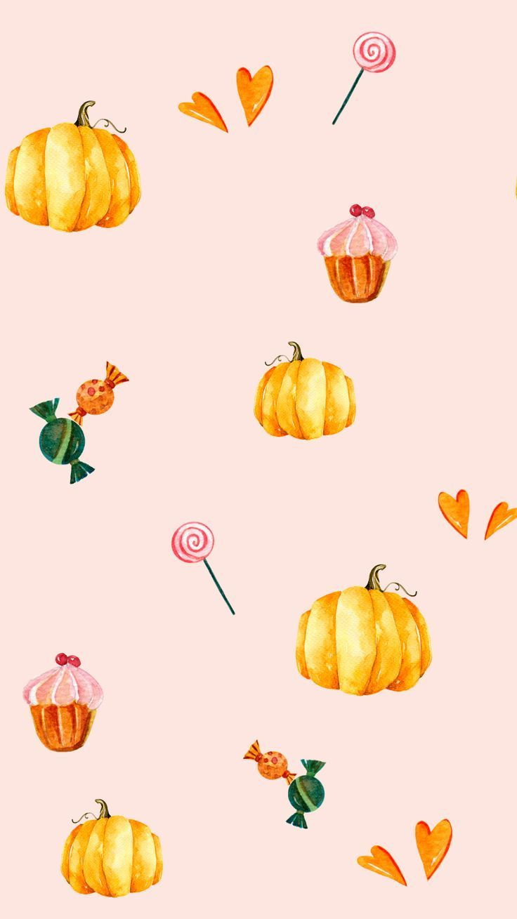 PASTEL PUMPKINS AND SWEET TREATS DESKTOP WALLPAPER