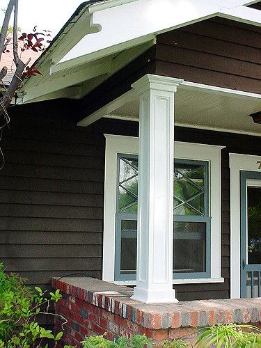 Maybe columns like this, resting on pedestals, with brackets at top? Porch Posts Recessed Panels Trim 3 | by sdstair