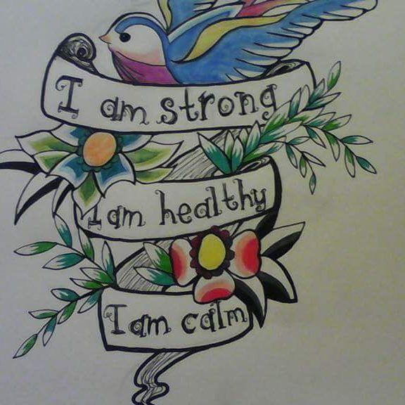 #bannertattoo #positivevibes #positivethinking #strength #healthy #calm #pendrawing #colourful #art #original #mentalhealth #strongwomen #strong