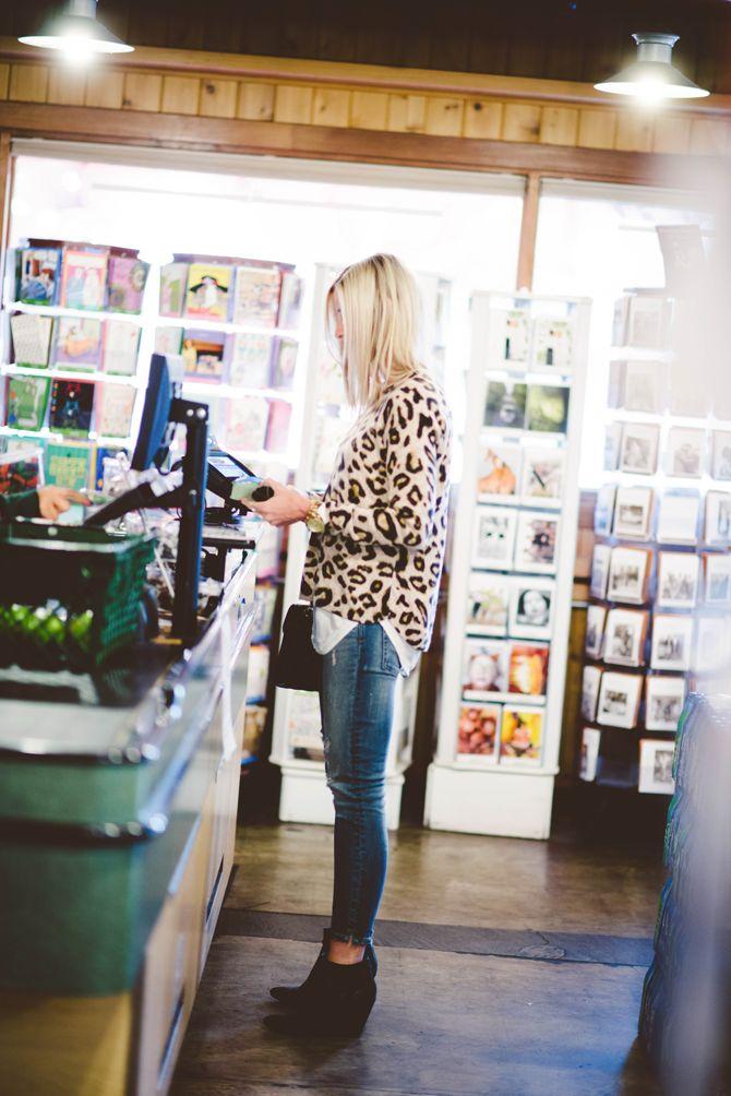 leopard sweater, black wedge booties