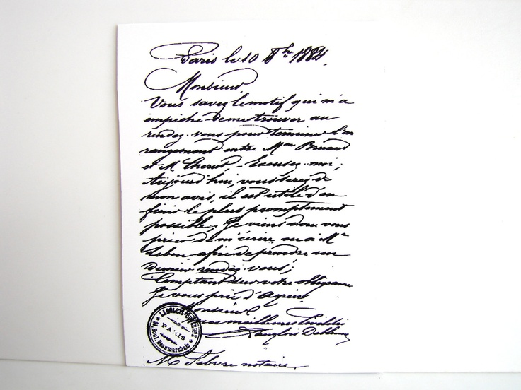 French Letter in Cursive Handwriting Stamp Rubber by ThirdShift, $4.35