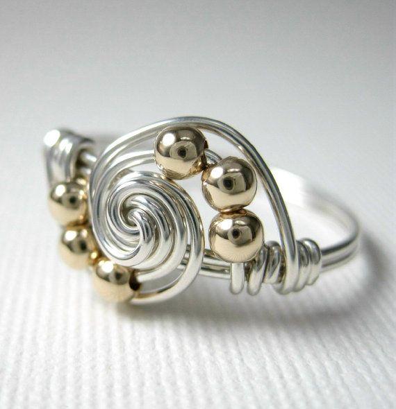 Metalli misti filo avvolto gravitazione anello  argento e 14K