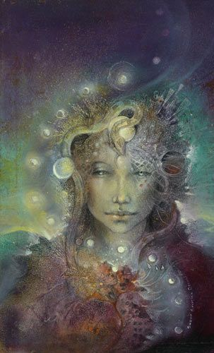 "Susan Seddon Boulet's work has been an inspiration for years. We discovered  before she died in 1997. We have framed prints of her artwork throughout our home and are happily pinning information about her. The artwork and her creations they a beautiful on so many levels! ♥ This one is ""Athena"". Notice the moon cycles weaving through the piece. If we are infringing on any copyrights please advise us and we will remove them. Or goal is to support her legacy & share it with others."