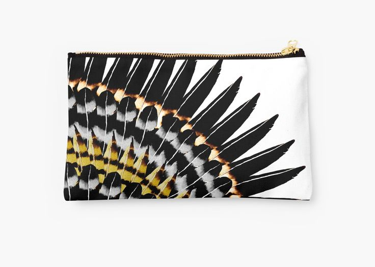 watercolor and digital feather pattern. Inspired by nature. Gold tones with black • Also buy this artwork on bags, apparel, stickers, and more. @redbubble #fashion #bag #feathers #redbubble #studiopouch #bag