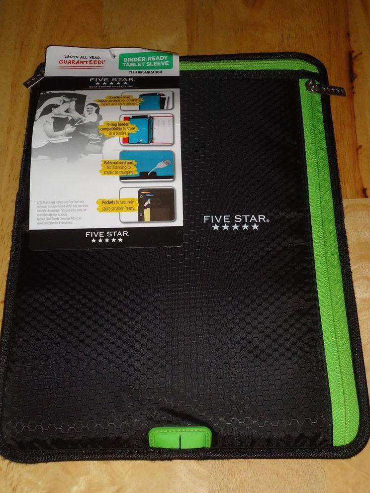 Five Star Binder Ready Tablet Sleeve Tech Organizer Black & Green NEW #Mead