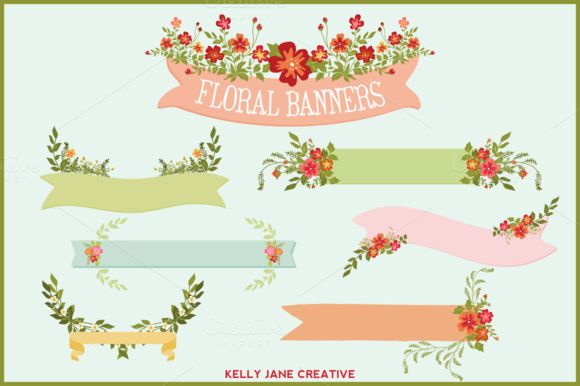 Check out Floral Banners, Ribbons, Bouquets by kellyjsorenson on Creative Market