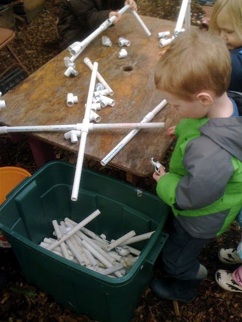 Building with PVC Pipes-My dad actually did this for my oldest many, many years ago and we still have the bin full of pipes and connector pieces and both boys still play with them all of the time.