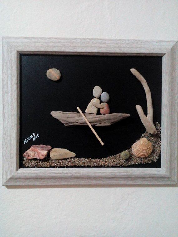 Unique Pebble Art Wall Hanging with Natural Materials