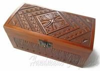Exclusive Ukrainian Wooden Jewelry Box Casket Souvenir Carved a Gift to a Woman
